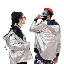 Laser Metallic Silver Glod Uomini Giacca Lucido Giacca A Vento Con  Cappuccio Mens Di Lusso Giubbotti Streetwear Hip Hop Moda Uni. 94262edead1c