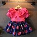 Детей комплект для детей костюм наряды девушки платье лето топ + юбка 2 шт. детские цветок юбка подходит для детей одежду 5 S / L