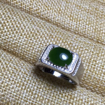 Natural green jasper stone Ring Natural gemstone Ring S925 sterling silver trendy luxurious Heavy women men party gift Jewelry