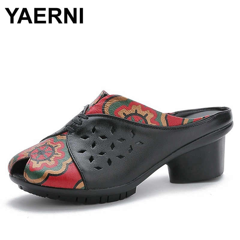 YAERNI Genuine Leather Slippers Women Summer Slip On Thick Heel Sandals Slippers Fashion Printing Fish Mouth Slippers Size 41