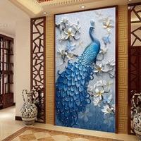 FULL Diy Diamond Painting Cross Stitch 5d Diamond Embroidery Blue Peacock Animal Picture Mosaic Pattern