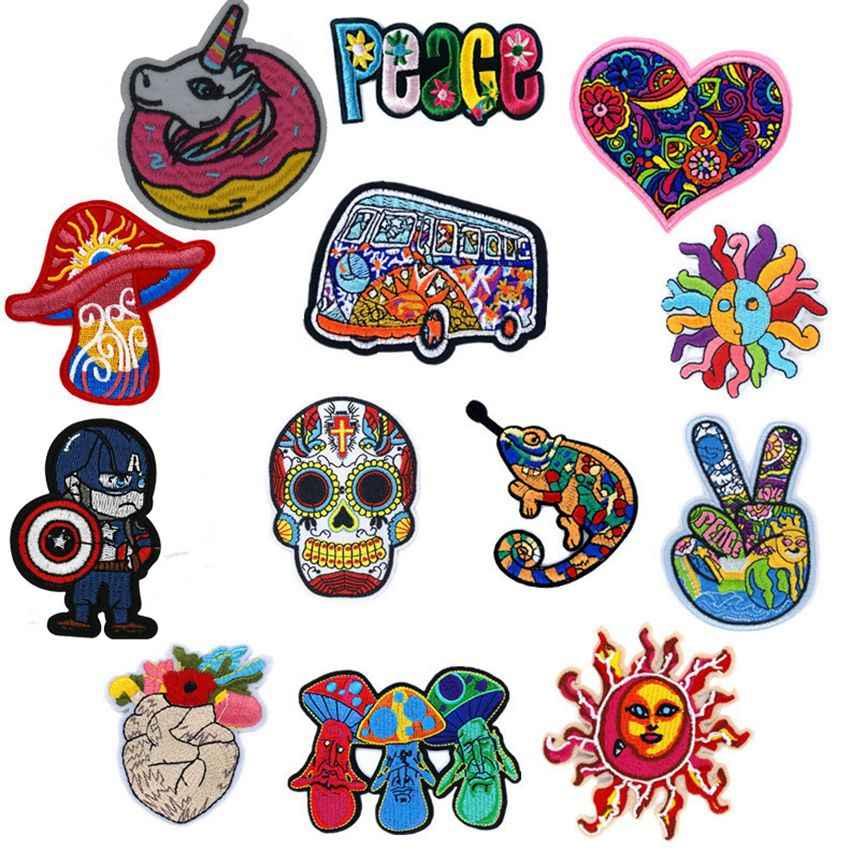Arco Iris caballo hongo amor, paz insignias planchar para la ropa mano sol corazón cráneo parches para niños mujeres camiseta Decoración
