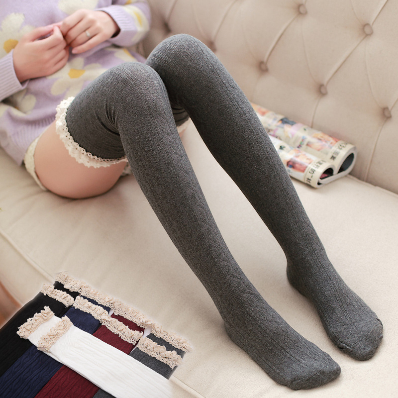 579aeeaf733 Top Quality Over The Knee Socks Thigh High Socks Women s Stockings Vertical  Stripes Lace Sexy Warm Socks for Girls  a5-in Stockings from Underwear ...
