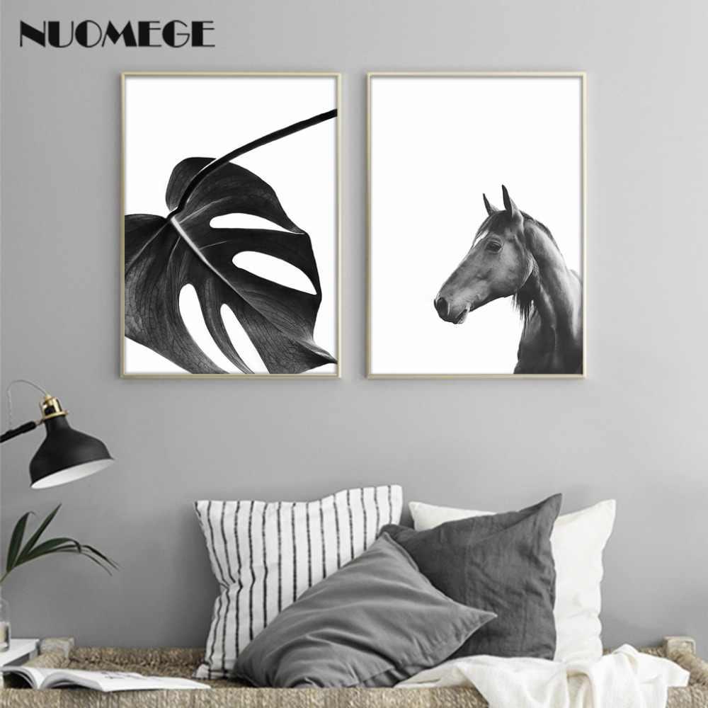 Caballo Blanco y Negro flor arte de la pared, Cartel de la lona impresión, estilo nórdico, amor Simple pintura pared foto para la habitación decoración