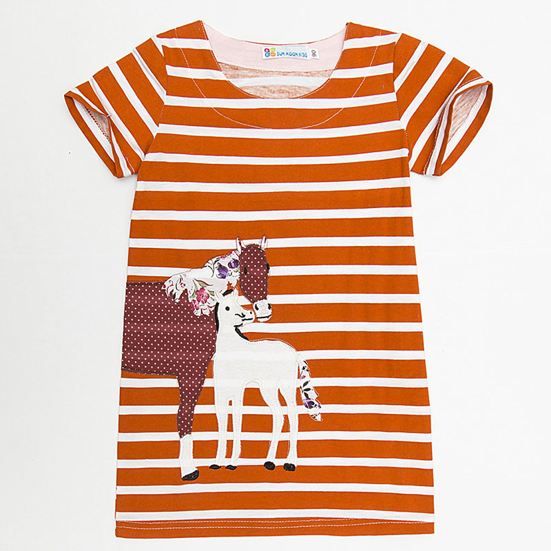 Baby Girl Dress Summer Casual dresses 2018 Kids Clothes 100% Cotton Grils Striped Dress Animal Horse Applique Children Clothing baby girl casual dress summer pure cotton 100