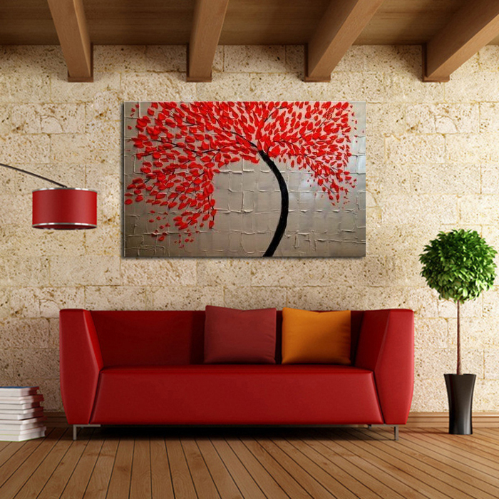 100% Hand painted Free Shipping Modern Wall Art for Home decoration Abstract Red Tree Oil Painting on Canvas Art Work