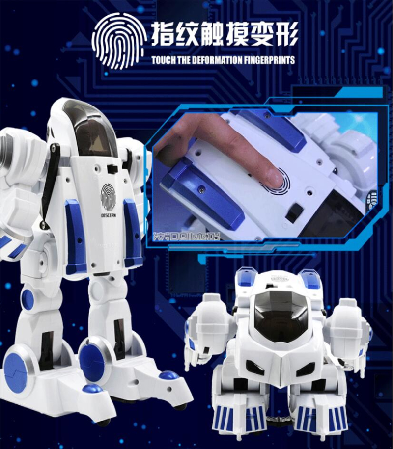 Early Education Electric Interactive Remote Control Deformation RC Robot Truck Toy Fingerprints IR Smart Walking Robot Model Toy 2018 star wars toy e8 series deluxe smart robot r2 d2 interlighent inteligente model electronic toy rc remote control toy