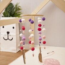 Baby Crib Mobile Felt Ball Nursery Ceiling Mobile Handmade Kids Room Wall Hanging Decor Wooden Cot Mobile Felt DIY Craft Nursery Decoration for Girls & Boys