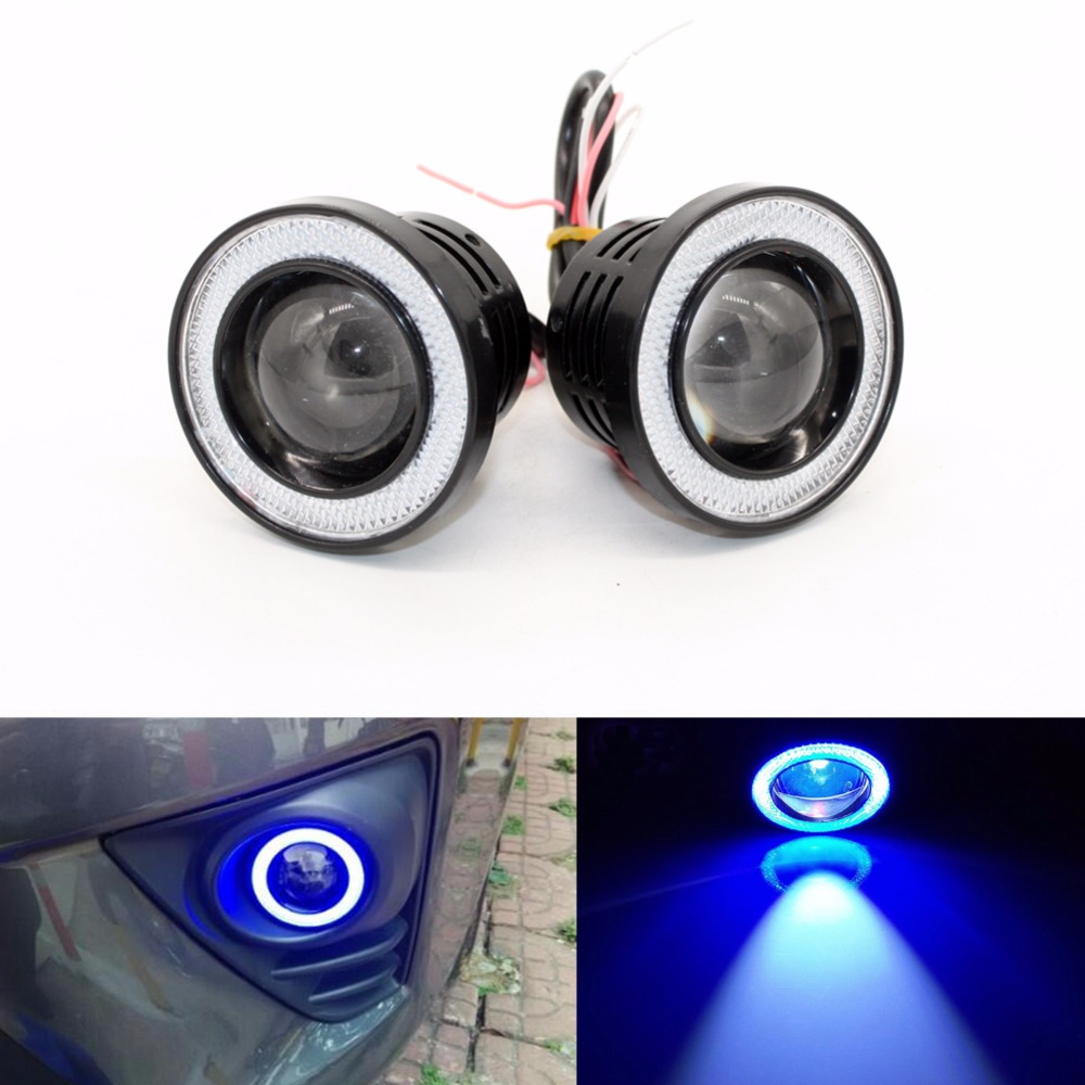 3.5 inch Car Universal COB LED Angel Eyes Light Fog Lamp W/ Lens Auto DRL Driving Light Daytime Running Lights Blue 30W 1200LM guangzhou auto light car fog projector lens without bulb car lights 2 2 inch universal type