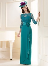 Vestido De Festa Longo Com Renda Sexy turquoise Lace Long Evening Dress Elegant Sleeve 2015 Gown