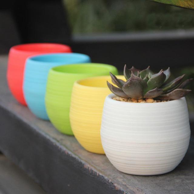 1pc Colourful Mini Round Planter Plastic Plant Flower Pots Home Garden Office Decor Garden Supplies