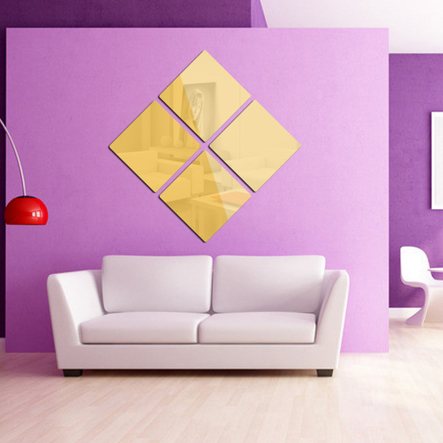 6PCS Free combination Square Modern Mirror Wall Stickers Modern ...