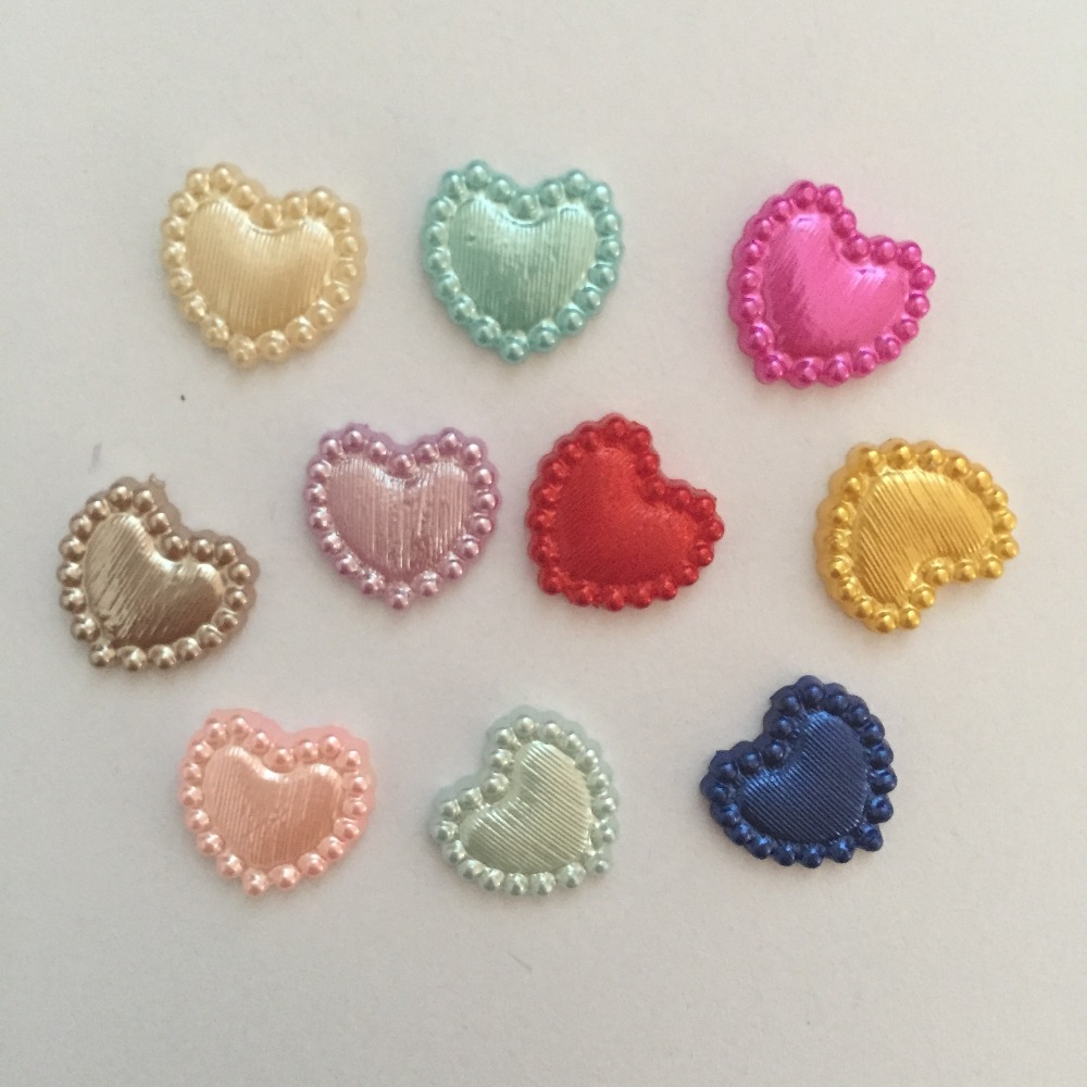 500pcs 10mm mixed plastic Heart shaped Pearls Gems Craft Decoration DIY Laptop B06A*5
