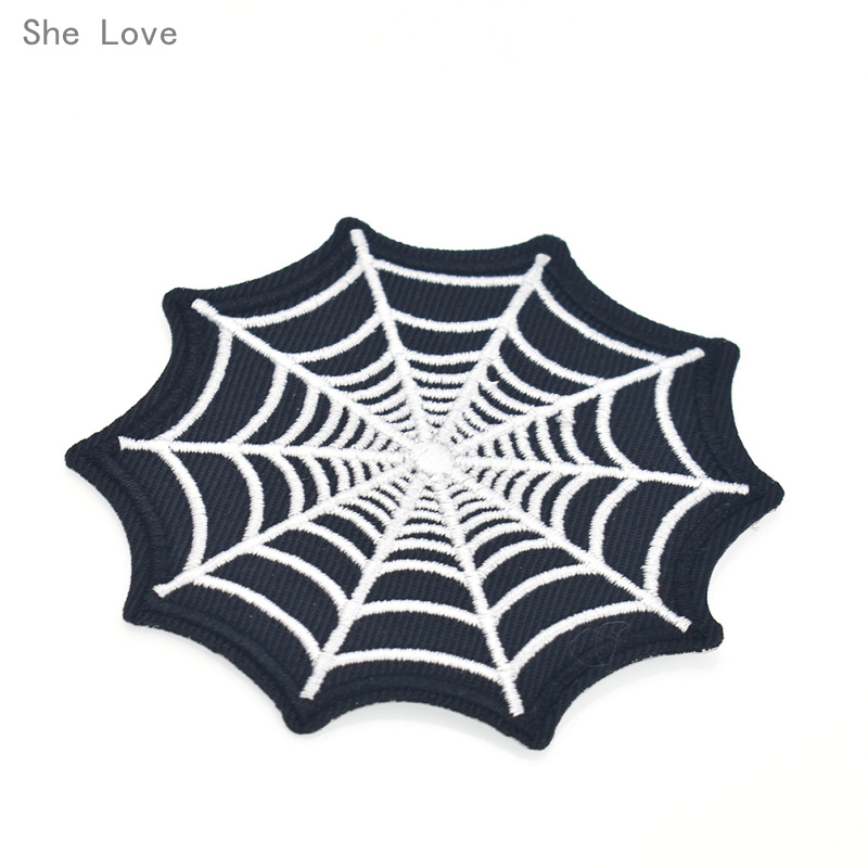She Love Punk Spider Webs Embroidered Sew On Iron On Patch Badge Applique Craft Transfer For DIY Fashion Clothes Jackets