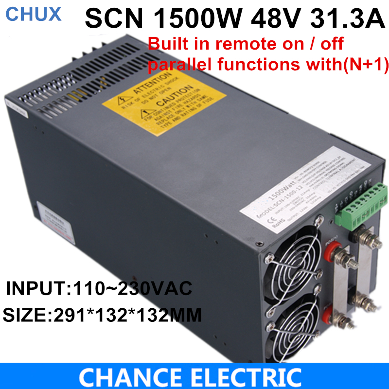 Ce Cetified 48v 31.3A Switching Power Supply 1500w for cnc cctv led light SCN-1500-48 48v 20a switching power supply scn 1000w 110 220vac scn single output input for cnc cctv led light scn 1000w 48v