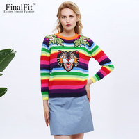 FinalFit Floral Embroidery Knitted Sweater Women Pullover Colorful Striped Cat Casual Female Sweater Jumper