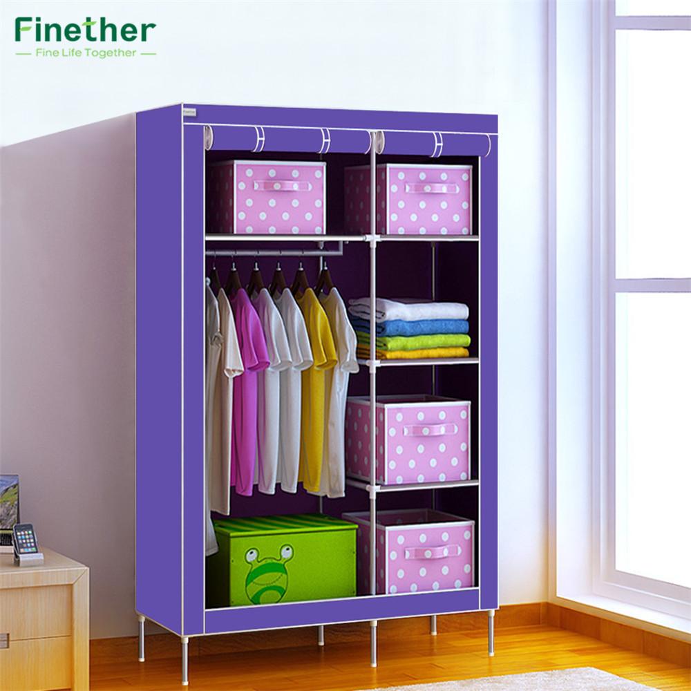 finether doble modular con marco metlico armarios guardarropa plegable simple refuerzo recibir ropa tienda arca contenido