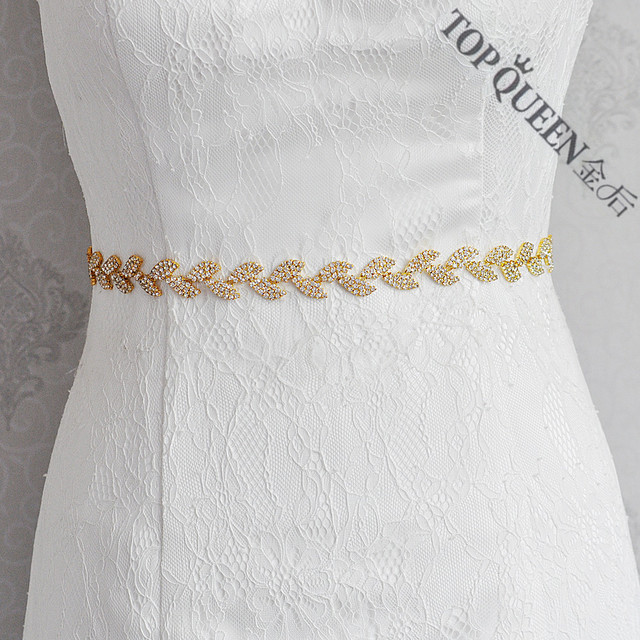 TOPQUEEN S198-G Free shipping STOCK Rhinestones Crystals Wedding Belts,Bridal Belts sash,Bridal Wedding sashes Belts