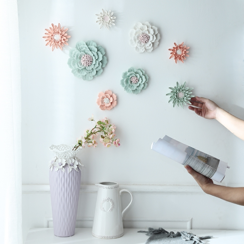 Ceramic Flower Wall Murals Ornaments Creative Living Room Bedroom Wall TV Background Wall Three-dimensional Wall Decorations