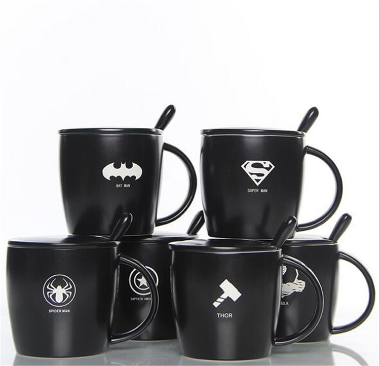 The Avengers Black Lemon Tea Coffee Mug With Spoon Superman Spiderman Batman Hulk Thor Mugs Ceramic Coffee Mugs Drinkware