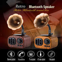 2020 New Gramophone Mini Retro Bluetooth Speaker Wooden Gift Audio Plug-in Card Portable Receipt Broadcaster Player