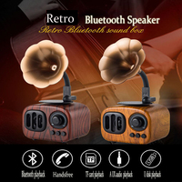 Gramophone Mini Retro Bluetooth Speaker 2019 New Wooden Gift Audio Plug in Card Portable Receipt Broadcaster Player