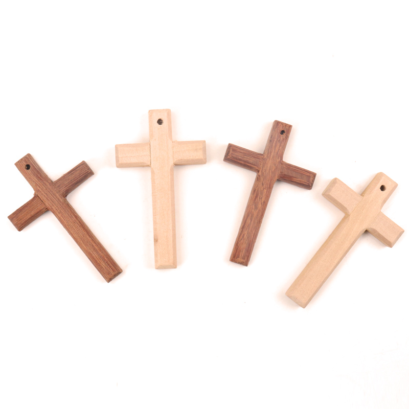 Home Decoration Handmade Accessory Scrapbooking Craft DIY Natural Wooden Christian Cross Pattern Ornamentation 80x50mm 1pcs