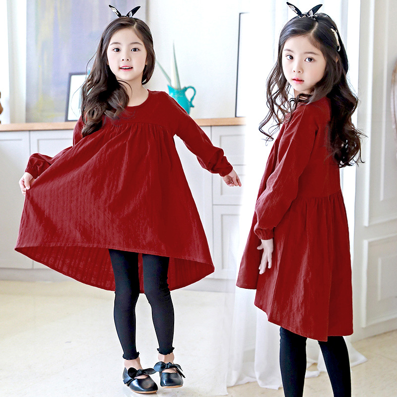 2018 Asymmetrical loose cotton baby girl dress kids long sleeve solid dress birthday party dresses for teenage girls clothing hayden girls boho ethnic dress designs teenage girls national embroidered dresses flare sleeve loose fit dress for 7 to 14 years