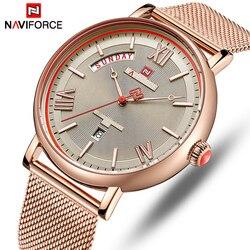 Naviforce men assista topo de luxo da marca dos homens à prova dwaterproof água quartzo relógios de pulso moda casual data masculino relógio relogio masculino