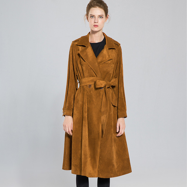 Solid turn down collar full sleeve X-long trench coats 2018 new high quality office lady autumn trench coats