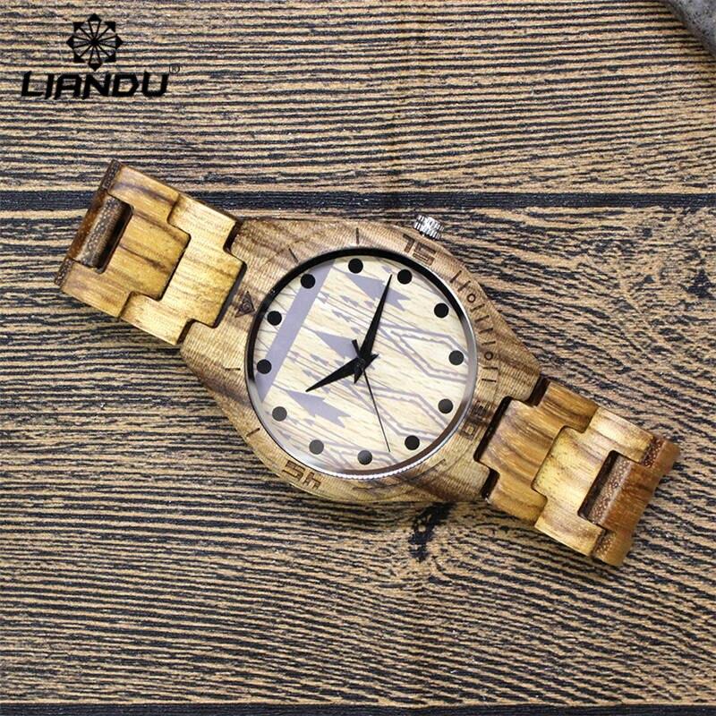 LIANDU New Top Brand Designer Mens Wood Watches Zabra Bamboo Wooden Quartz Watches for Men Male Quartz Wristwatches in Gift Box ebony wood sunglasses men brand designer fashion polarized sun glasses with bamboo box z68020