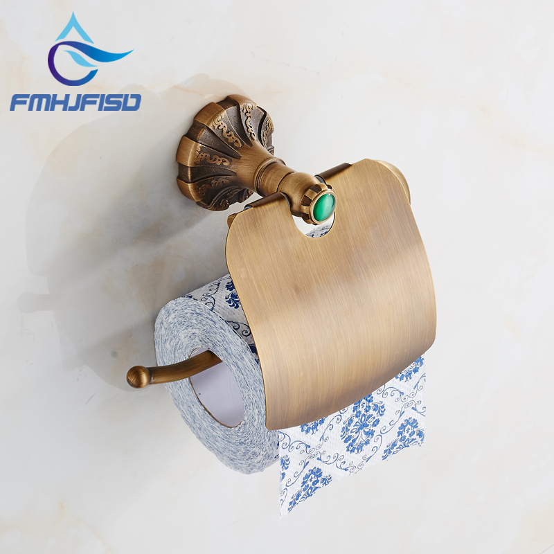 Free Shipping Antique Brass Toilet Paper Holder Wall Mounted High Quality free shipping wall mounted dark antique copperr door stopper for interior doors door holders for sale high suction 360g