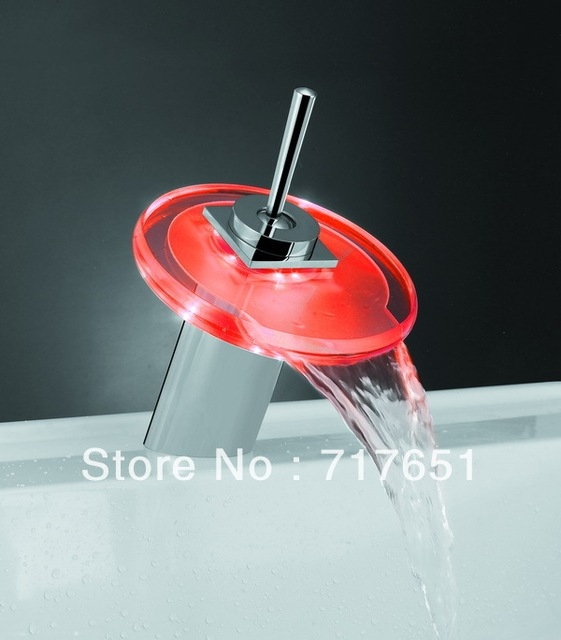 Fantastic Round 3 Color Waterfall Sink LED Light Faucet For Kitchen Bathroom