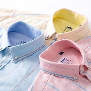 Image 4 - Mens Oxford 100% Cotton Fashion Stripe Casual Long Sleeve Shirts Retro Style High Quality Design Mens Dress Shirts Blouse