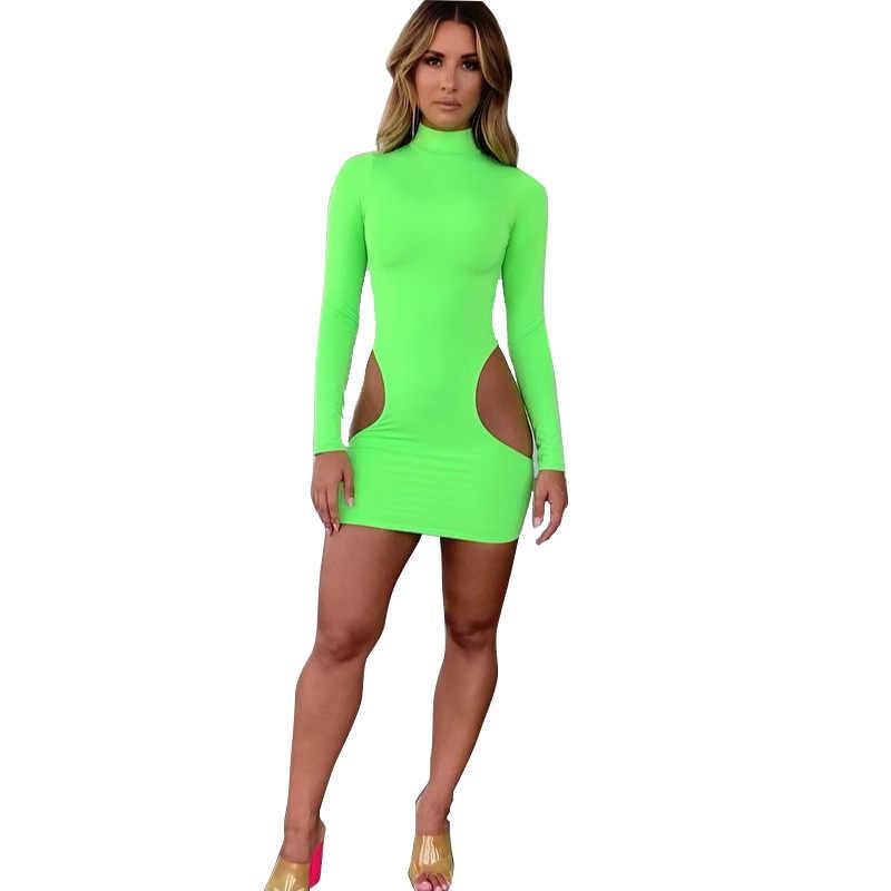 BKLD-robe d'été, robe découpée, Sexy, manches longues, moulante, vert néon, Mini Clubwear, tenue de soirée, nouvelle collection 2019