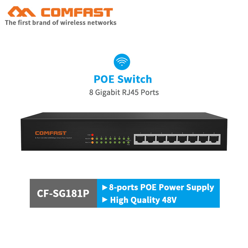 10 100 1000M 8 Port Gigabit PoE Switch AP Manager RJ45 Uplink POE Switch Network Of