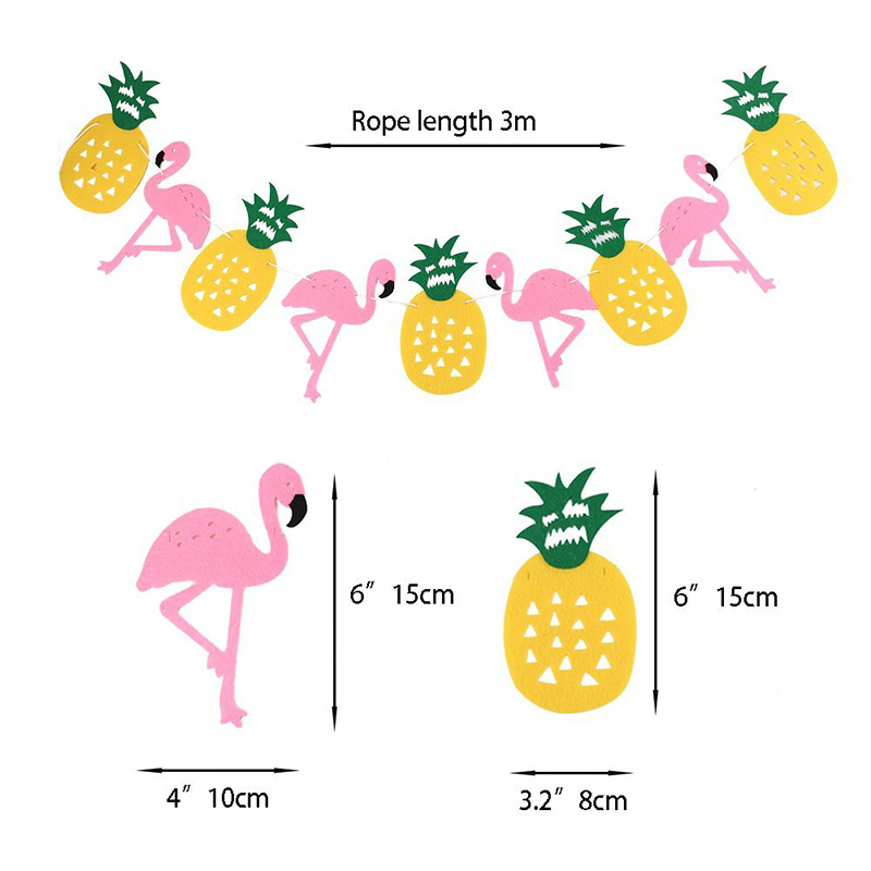 For Birthday Party Summer Party Backdrops Decoration Flamingo Banner Flag Pineapple Honeycomb Paper Ball Colorful Paper Fan Set