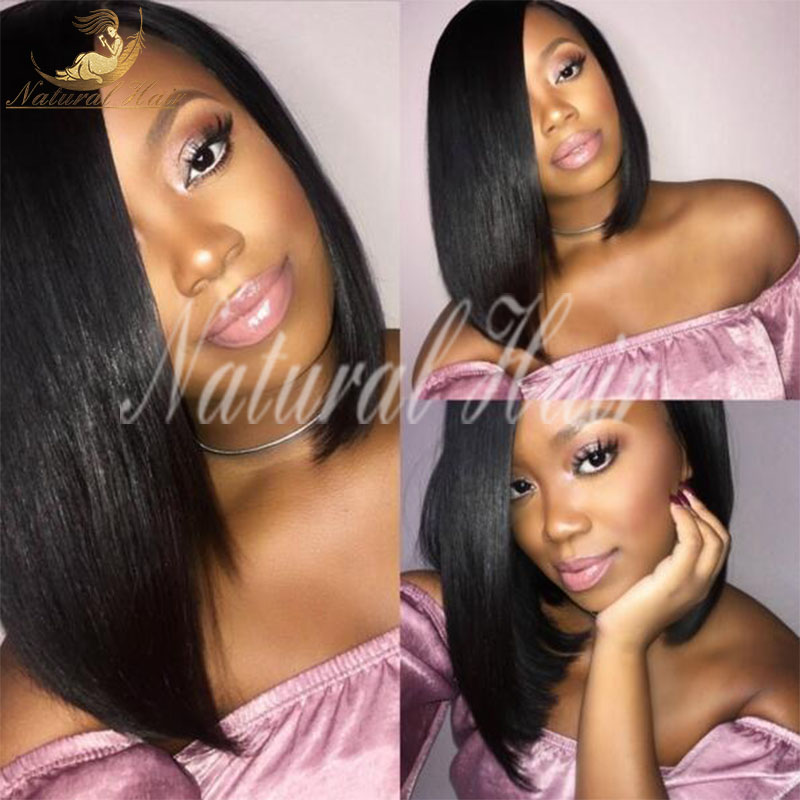 Bob lace front wigs Brazilian virgin human hair straight Silky or part full short wigs lace human hair wigs for black women
