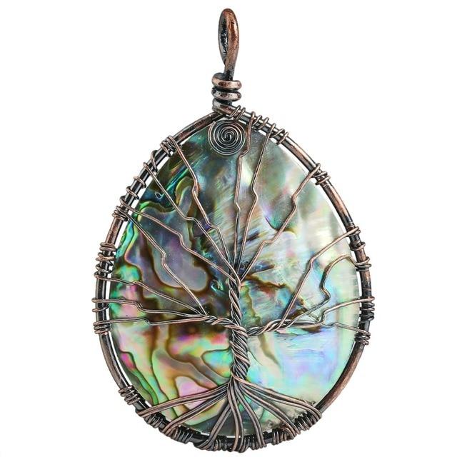 SUNYIK Rainbow Teardrop Abalone Shell Copper Wire Wrapped Tree of ...