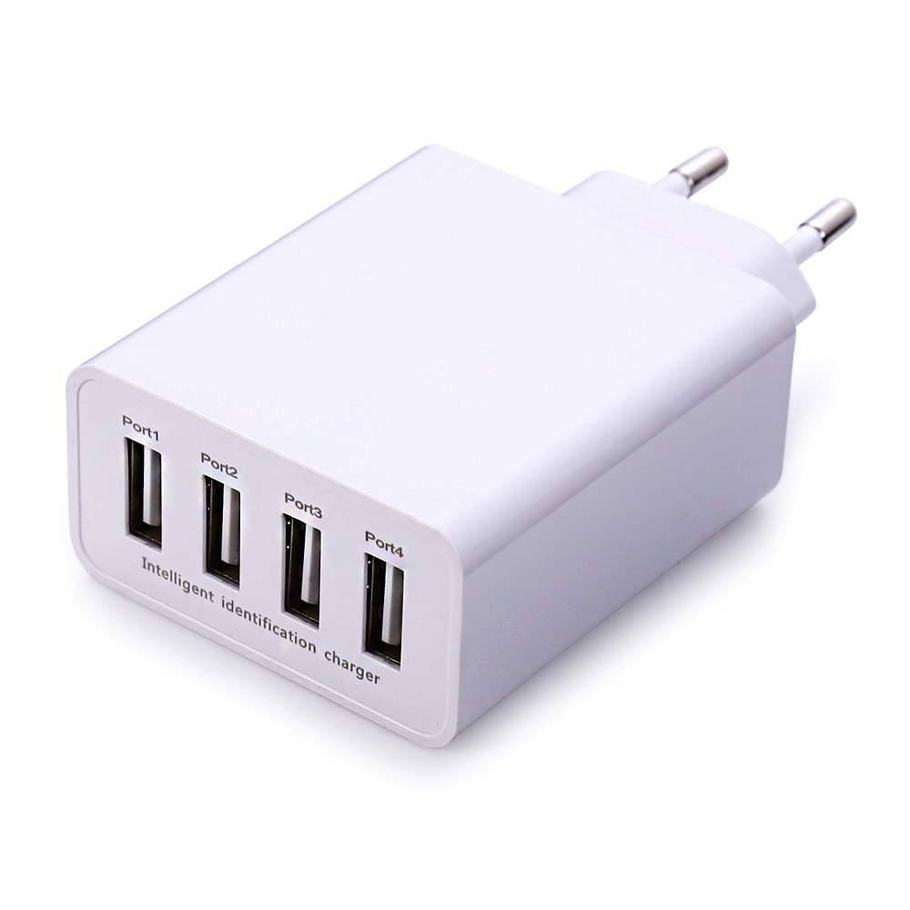 EU Plug USB Travel Adapter with 4 usb Ports Power Adapter Portable Universal Charger for iPhone,iPad, iPod, Samsung, LG