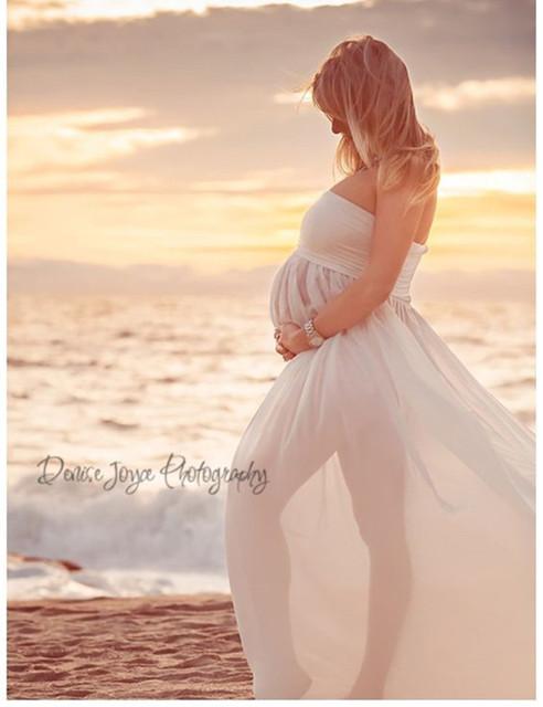 Maxi vestidos de maternidade Maternidade Fotografia Adereços Chiffon Vestidos Off Ombros Maxi Vestidos Grávidas Gravidez Sessão de Fotos