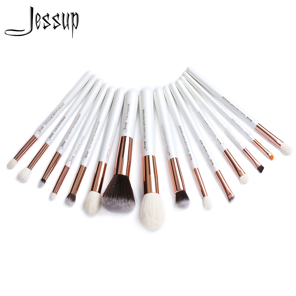Jessup brushes 15pcs Pearl White/Rose Gold Professional Makeup Brushes Set Makeup Brush Tools kit Foundation Powder T222 147 pcs portable professional watch repair tool kit set solid hammer spring bar remover watchmaker tools watch adjustment