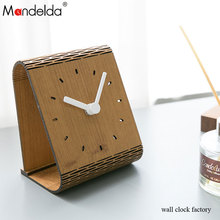 China Manufacturer Mandelda Quartz Movement Creative Portable 3mm Wooden Watch Home Modern Bracket Clock Cheap Price