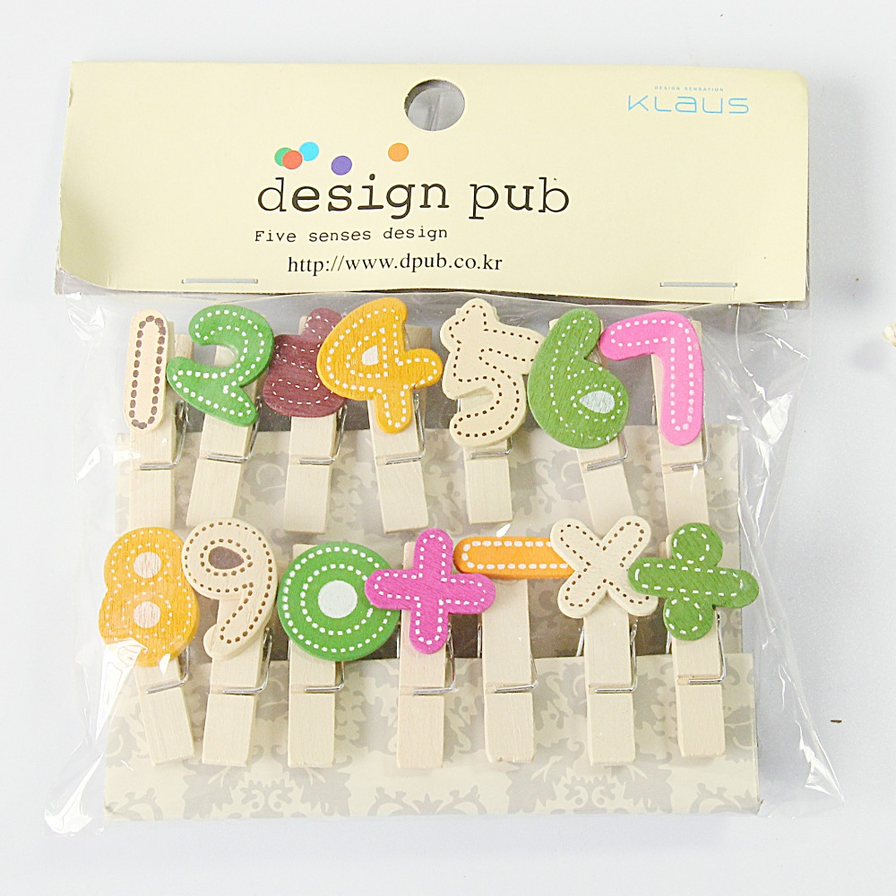 14 Pcs/lot Number Series Wooden Clip Photo Paper Clothespin Craft Clips Party Decoration Clip With Hemp Rope