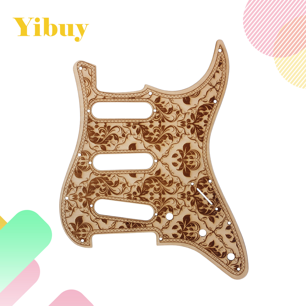 Yibuy 28.2x22.5cm Wood Flower Pattern SSS Guitar Pickguard Replacement
