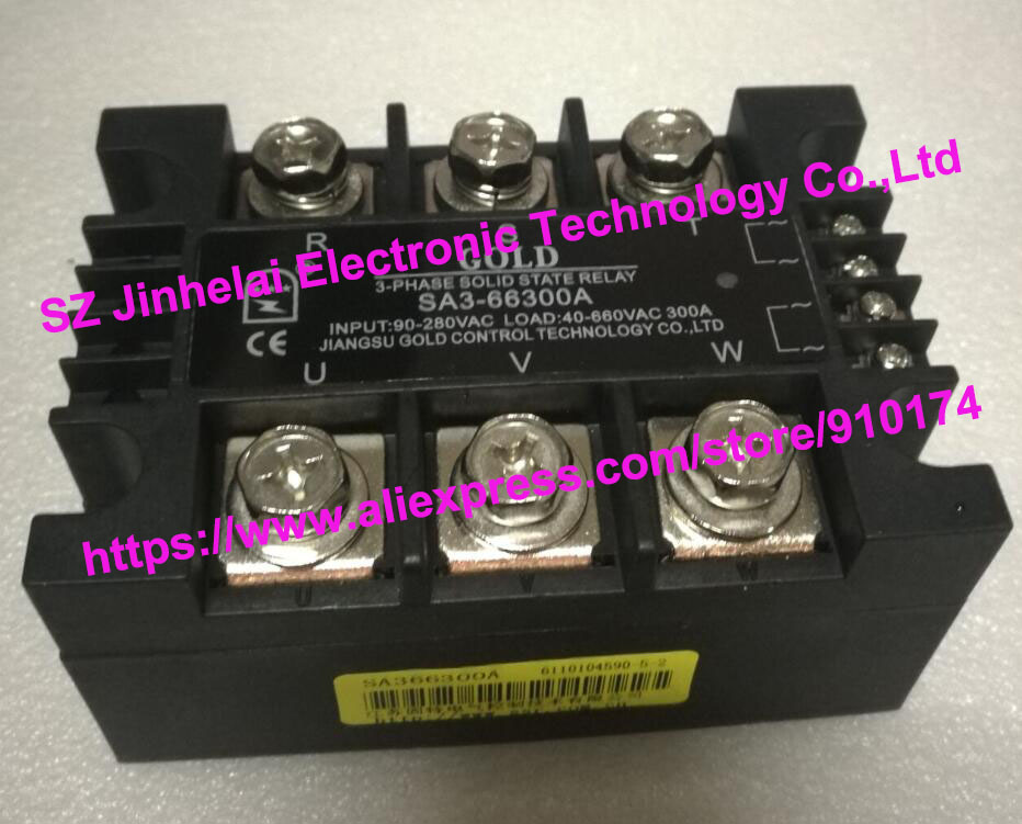 New and original SA366300A SA3-66300A GOLD 3-PHASE AC Solid state relay 40-660VAC 300A new and original sa34080d sa3 4080d gold solid state relay ssr 480vac 80a