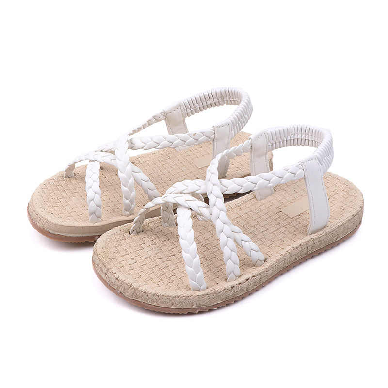 Gladiador niños sandalia Blanca Negra para niñas que tejen zapatos romanos niños sandalias de playa para niñas 3-12 años suave zapatos de fondo