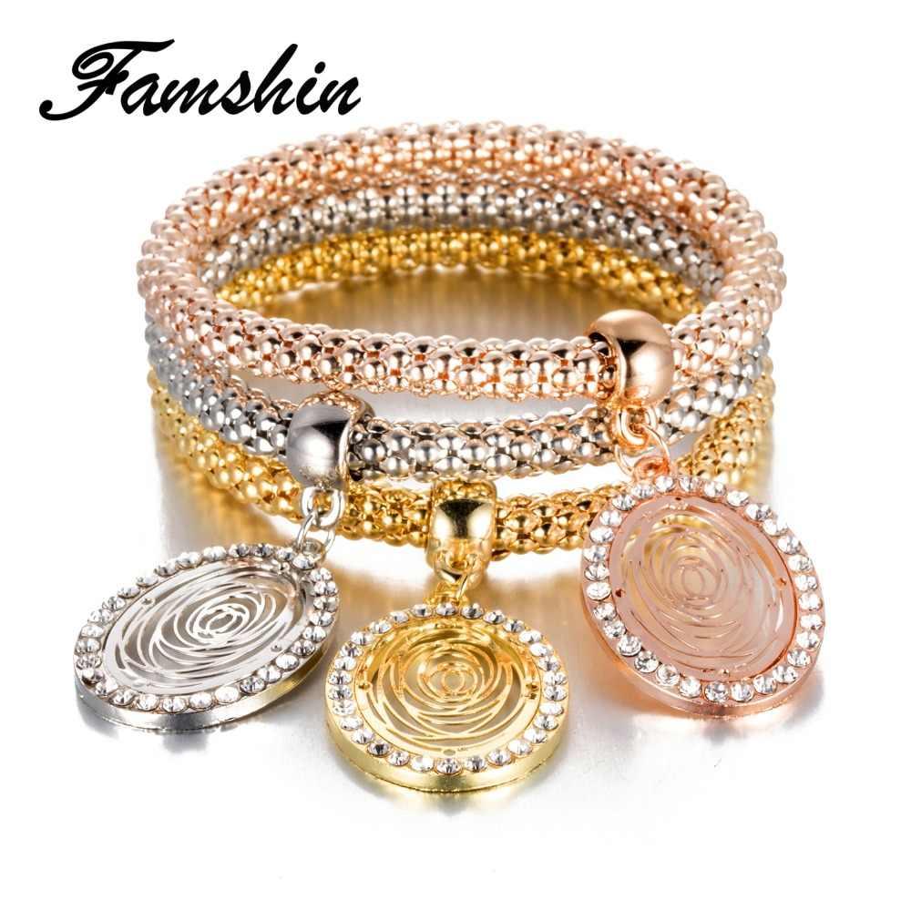 FAMSHIN 3 ピース/セットクリスタルフクロウクラウンチャームブレスレット & バングルオーバル 3 色ローズゴールド色象アンカーペンダントブレスレット女性