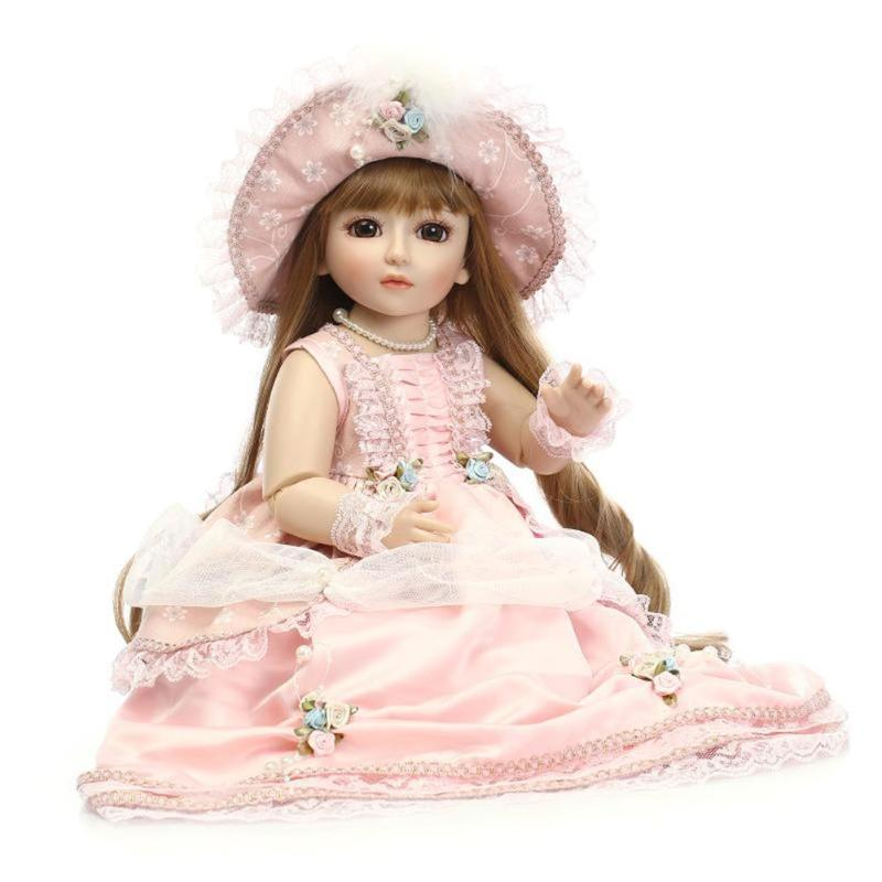 45cm 3D Cute Lifelike Soft Silicone Reborn Baby Doll Toys Girls Playmate with Princess Dress Baby Gift Kids Toy Fashion Doll 40cm 3d princess girl doll cute lifelike simulation reborn baby doll soft silicone kids playmate cloth doll toys birthday gift