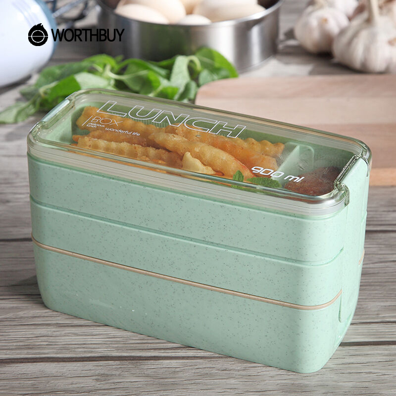 WORTHBUY Japanese Microwave Lunch Box For Kids School Eco-Friendly BPA Free Wheat Straw Bento Box Kitchen Plastic Food Container